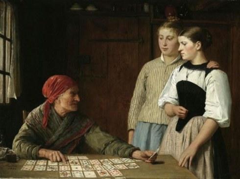 """Die Kartenlegerin"" (1880) by Swiss artist Albert Anker"