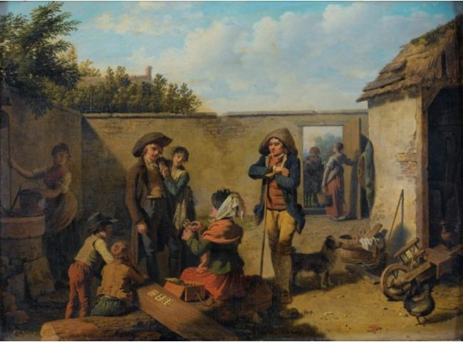 martin drolling - soldier and peddler in barnyard