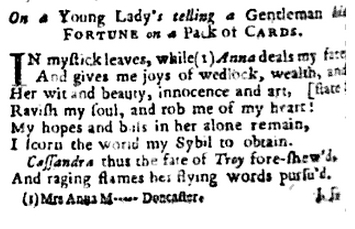 Mrs Anna M - Fortune poem 1734