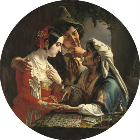 """The Fortune Teller"" (1841) by Russian artist Mikhail Ivanovich Skotti"